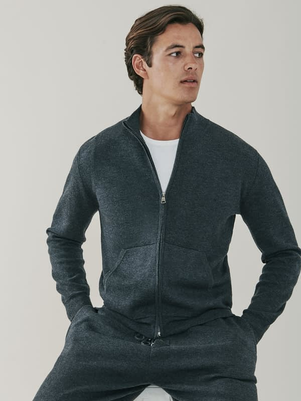 Cooper Cashmere and Merino Zip Up Sweatshirt - Grey