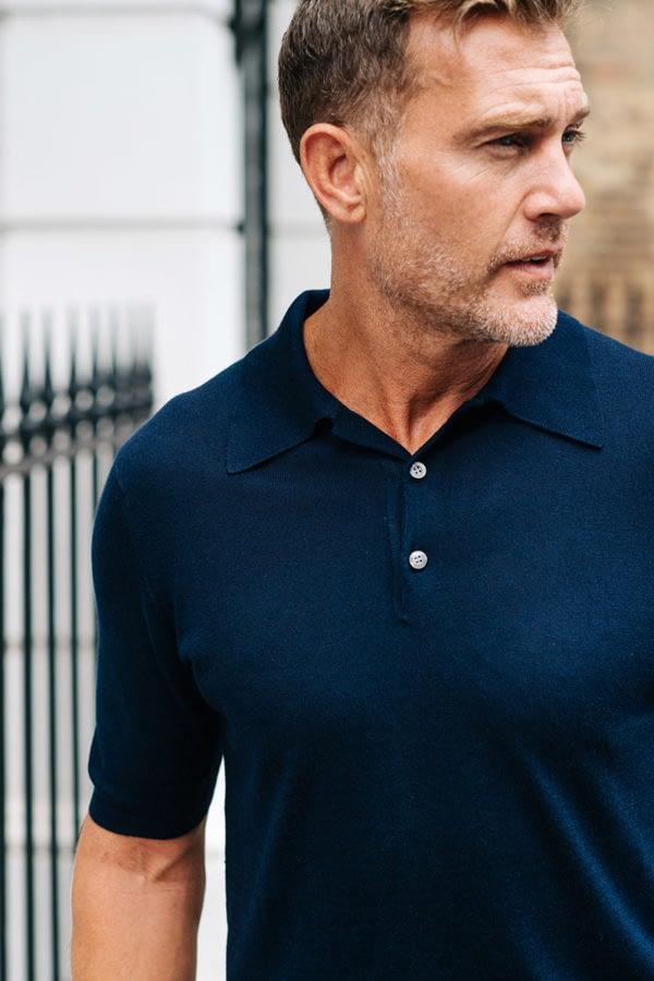 Shoal Silk Blend Polo Shirt - Navy