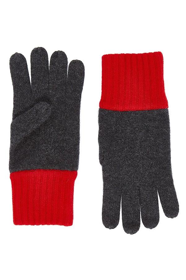 Elba Contrast Cashmere Gloves - Black