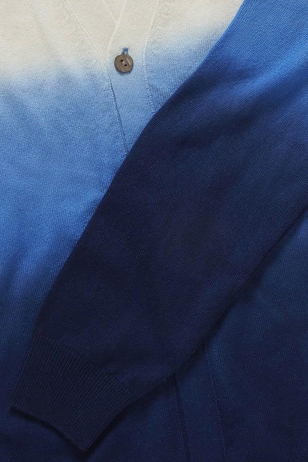 Ash Ivory & Dark Navy Dip Dyed Cardigan
