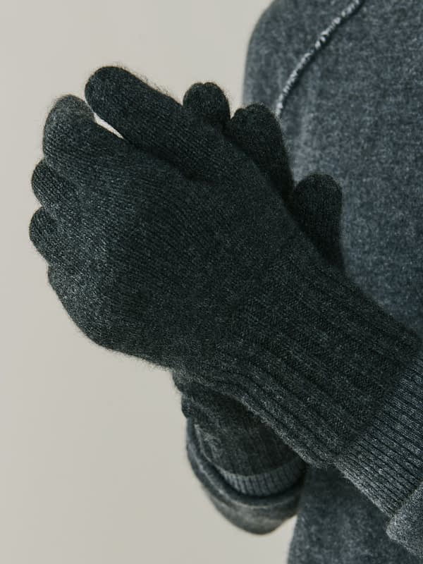 Alpine Cashmere Gloves - Charcoal Grey