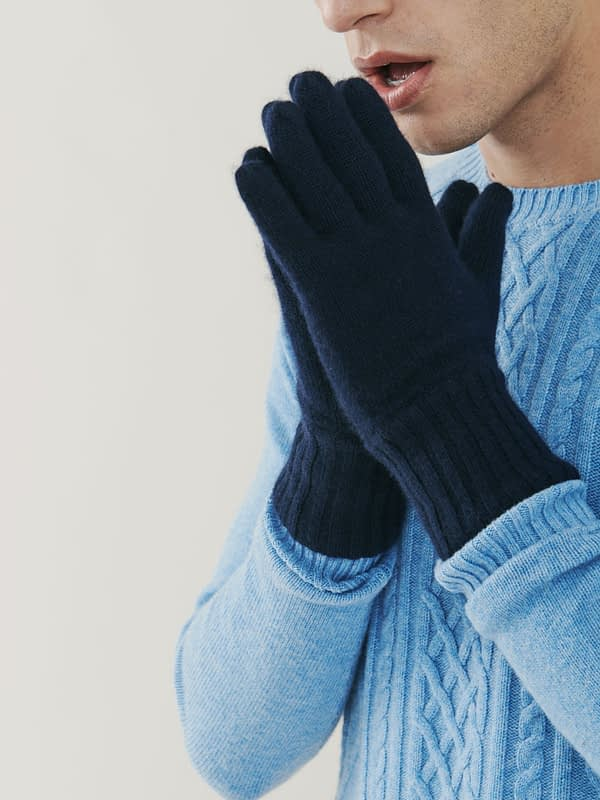 Alpine Cashmere Gloves - Navy Blue