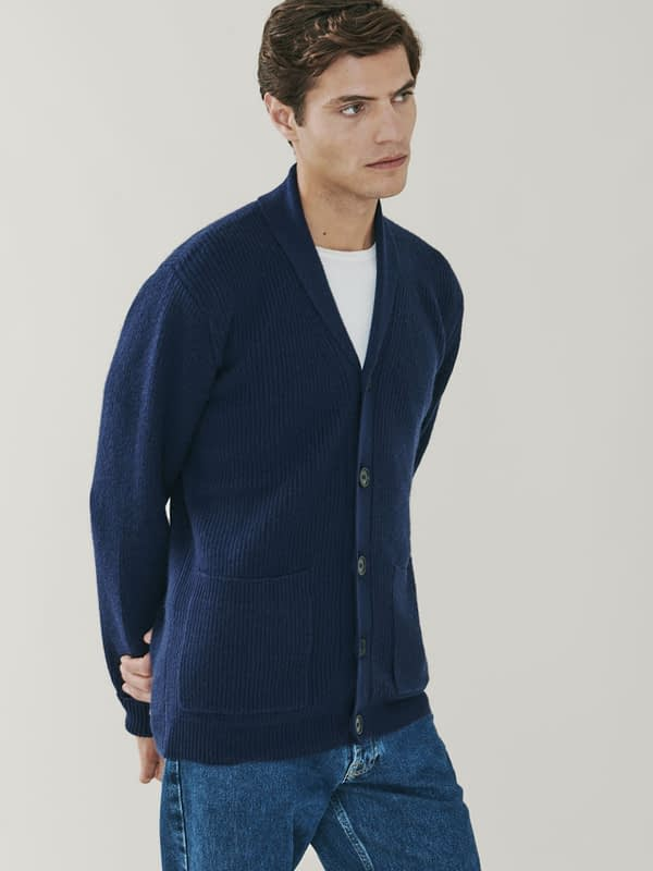 Woodbury Cashmere and Merino Blend Shawl Collar Cardigan - Navy