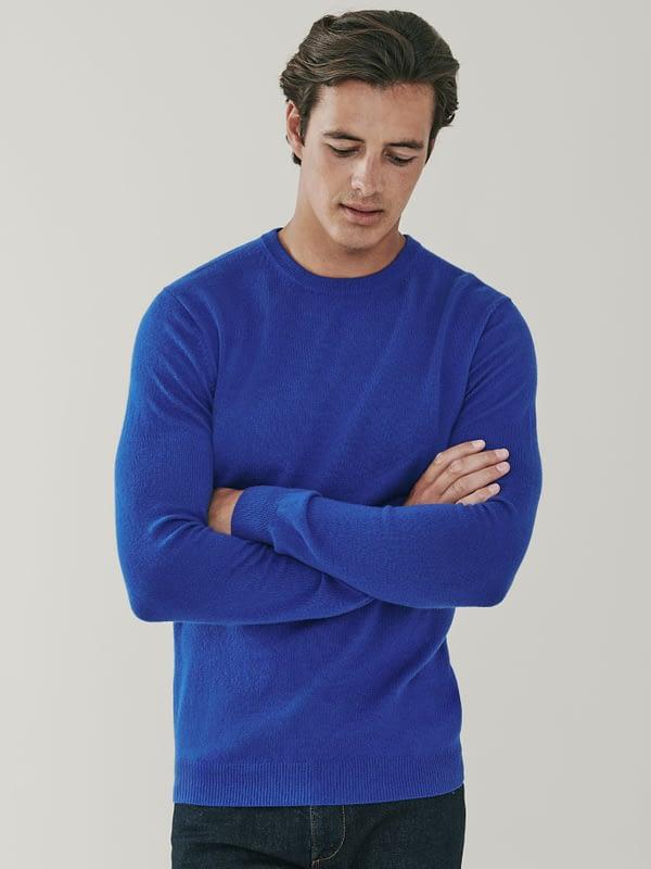 Canyon Cashmere Crew Neck Sweater - Azure Blue