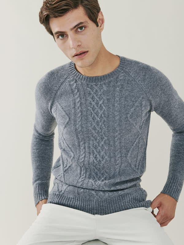Sunday Cable Knit Cashmere and Merino Sweater - Grey