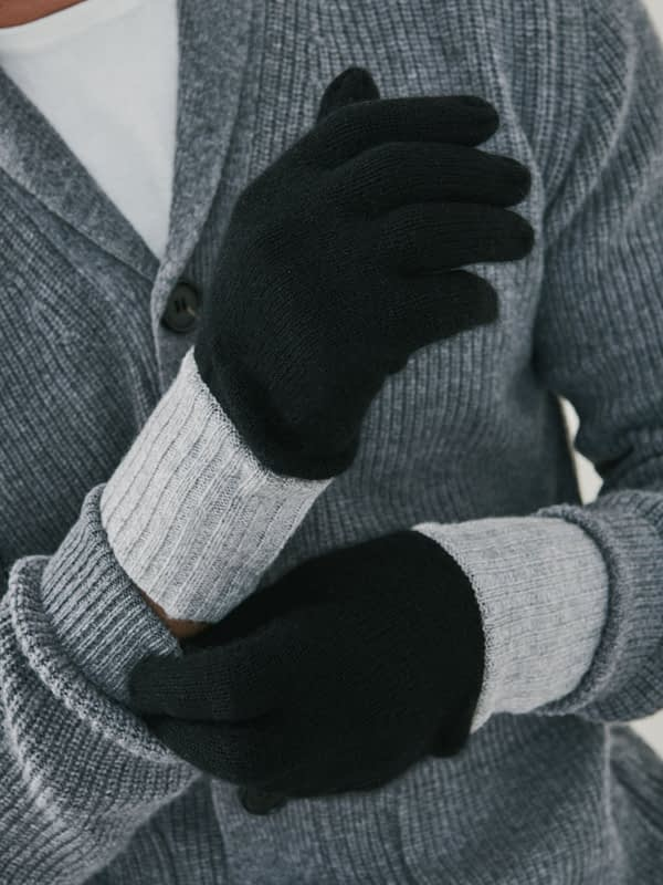 Elba Contrast Cashmere Gloves - Black & Heather Grey