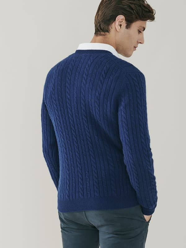 Boulder Cable Knit Cashmere V Neck - Denim Blue