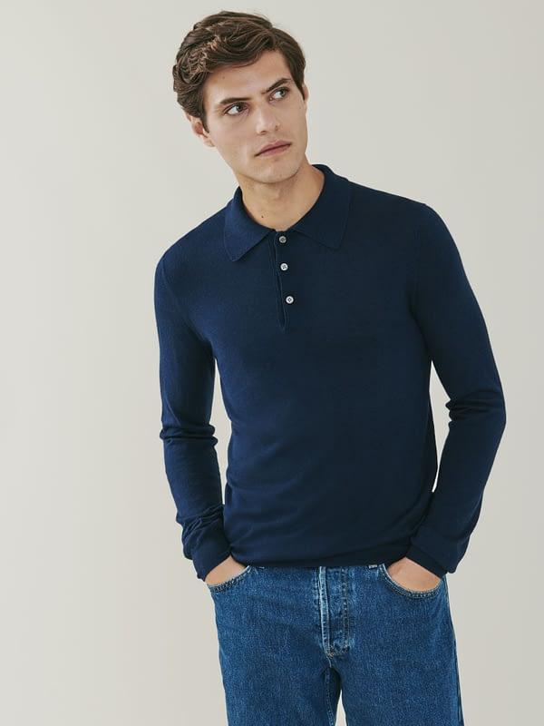 Cascade Silk and Cashmere Blend Polo Shirt - Navy Blue